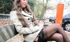 Beautiful brunette in hot outdoor solo show