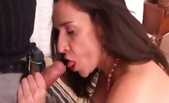 Horny dark head slut sucking cock