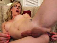 Blonde Trans Chick Takes Her Wang Out