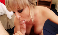 Sexy blonde uses tits on his stiff shaft