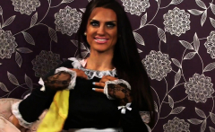 Slutty british maid makes her sub wank