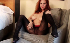 Redhead stepsister teases with hot black pantyhose