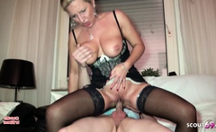 German Mature Teach Real Couple in Threesome for better Sex