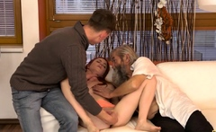 DADDY4K. Slutty ginger makes love to gentleman at her