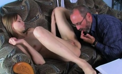 Luscious young russian maiden caresses big meat