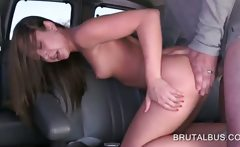 Teen beauty gets fucked doggy style in the bus