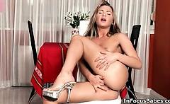 Hot blonde babe gets horny finger